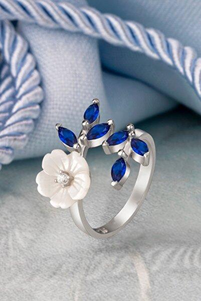 Else Silver Özel Pırlanta Montürü Mavi Mekik Taşlı Çiçek Gümüş Yüzük