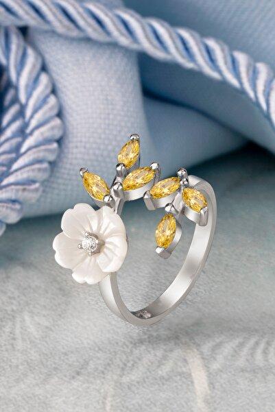 Else Silver Özel Pırlanta Montürü Sarı Mekik Taşlı Çiçek Gümüş Yüzük