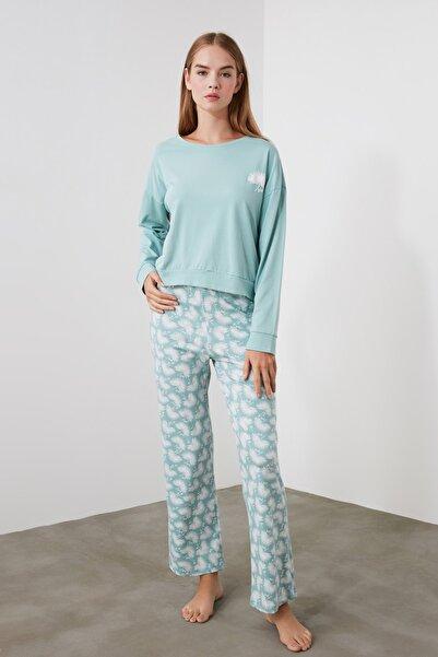 TRENDYOLMİLLA Mint Baskılı Örme  Pijama Takımı THMAW21PT0243