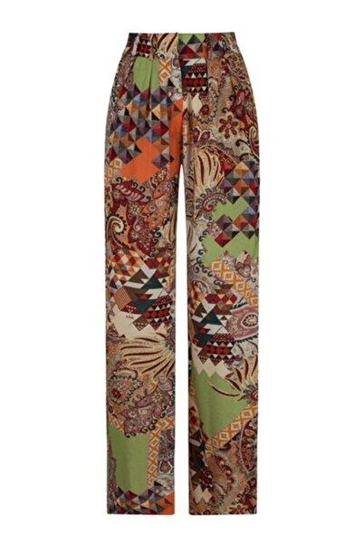 CEREN OCAK Kadın Kahverengi Desenli Pantolon