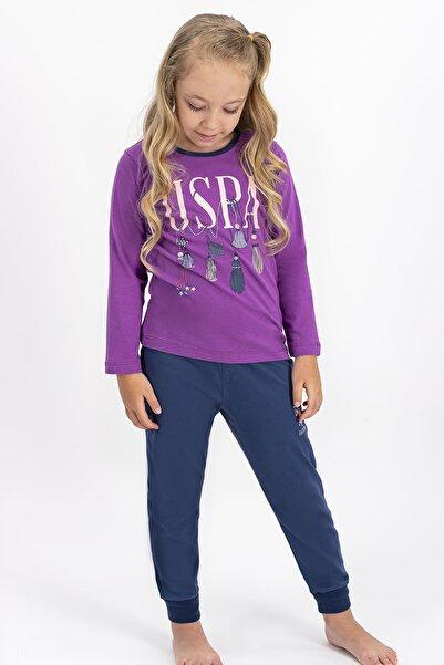 U.S. Polo Assn. Kız Çocuk Mor Lisanslı Pijama Takımı