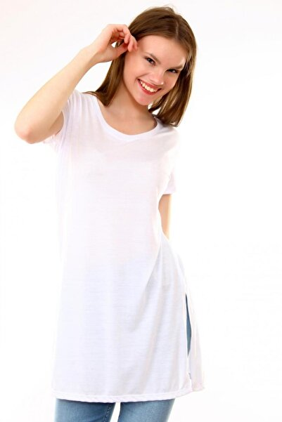 Deppoist Kadın Beyaz Bisiklet Yaka T-shirt