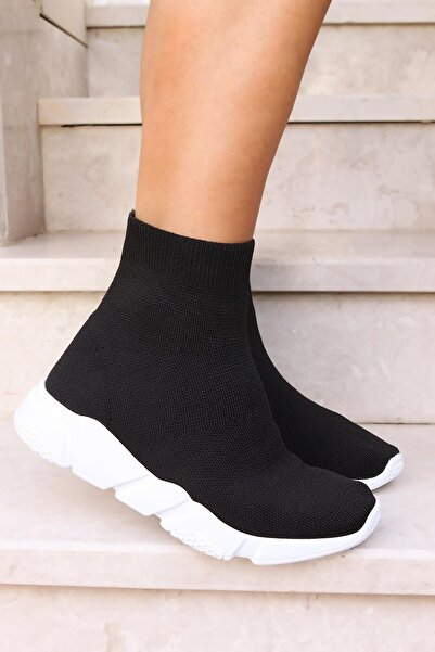 Kadın Siyah Triko Streç Çorap Sneaker Ayw1007syh