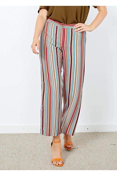 Adze Kadın Ekru Çizgili Yırtmaç Detaylı Pantolon
