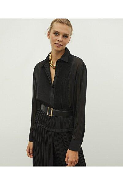 İpekyol Kadın Siyah Transparan Detaylı Gömlek