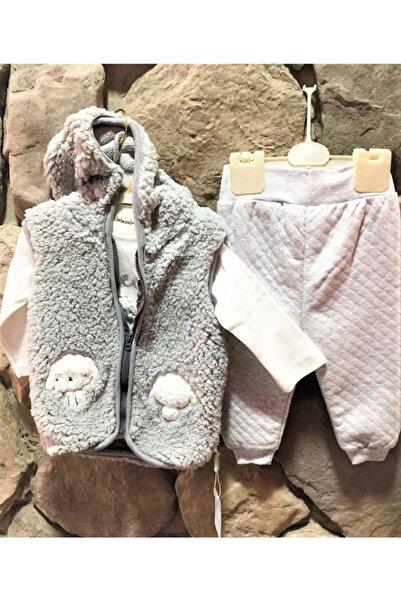 Elif Bebe Unisex Bebek Gri Yelekli Takım