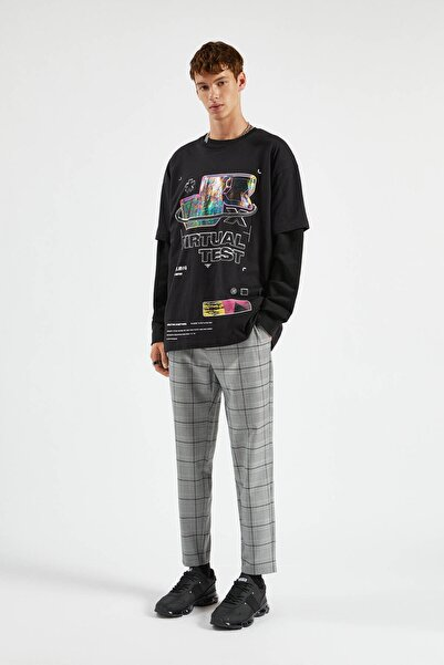 Pull & Bear Erkek Açık Gri Özel Dikim Skinny Fit Pantolon 09678532