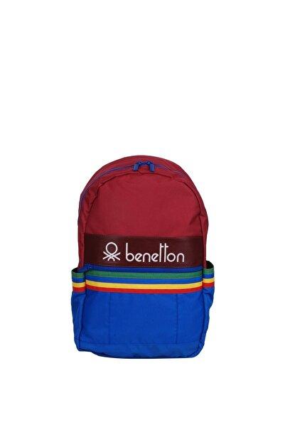 United Colors of Benetton Unisex Bordo Mavi Benetton Ön Bölmeli Sırt Çantası