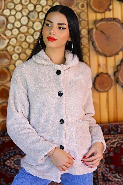Modaymış Kadın Bej Düğmeli Peluş Ceket