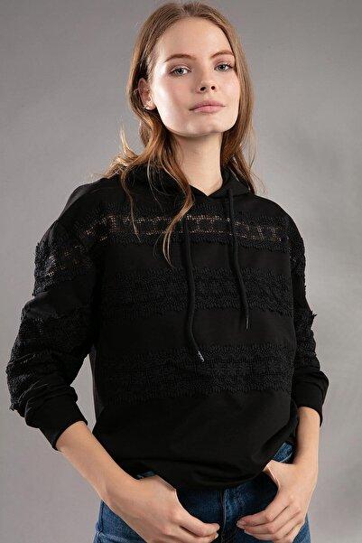 Y-London Kadın Siyah Taşlı Fermuarlı Önü Cepli Kapşonlu Hırka 39800 Y19W109-39800