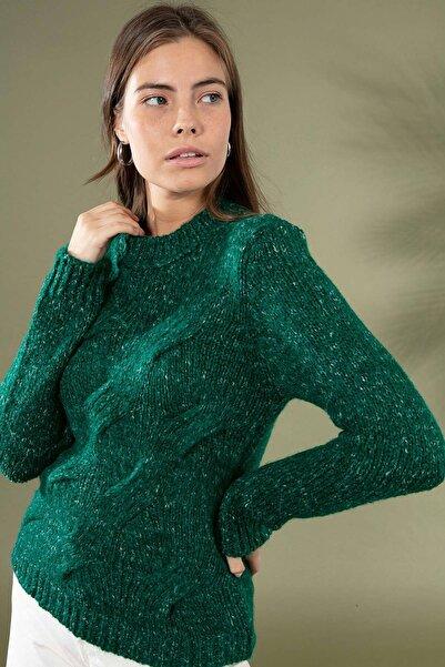 Y-London Kadın Koyu Yeşil Örgü Desen Uzun Kol Triko Kazak 3955 Y19W143-3955