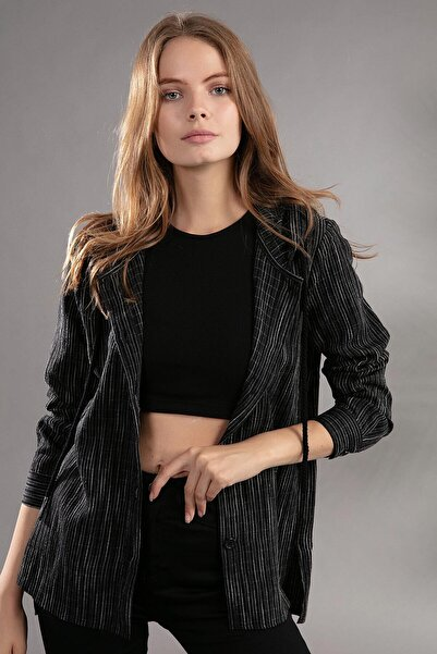Y-London Kadın Bağcıklı Kapşonlu Çizgili Gömlek 30699
