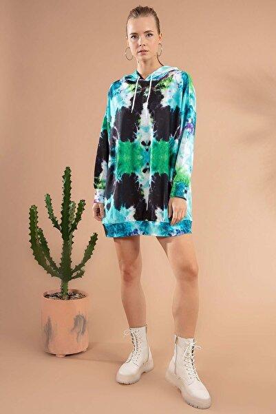 Y-London Kadın Yeşil Turkuaz Batik Desenli Kapşonlu Sweatshirt Elbise P20W-4125-6