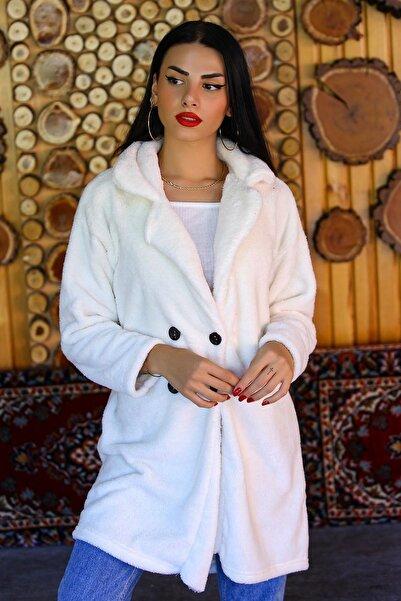Modaymış Kadın Beyaz Çift Düğmeli Peluş Mont