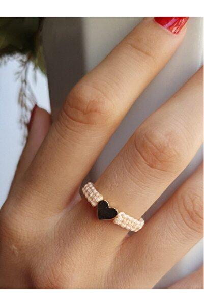 Premium ONLY Makrome Ip Kalp Yüzük Kadın Ayarlanabilir Ten Rengi Aşk Yüzüğü