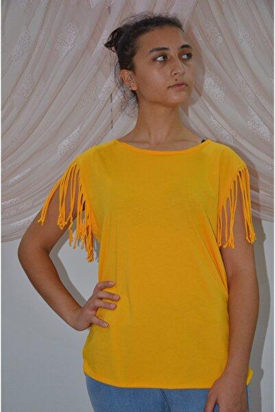 zeynep Kadın Sarı Kolları Püsküllü T-shirt