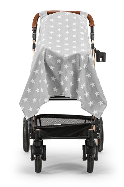 Moje Poplin Bebek Arabası Örtüsü Mega Yıldızlı Gri
