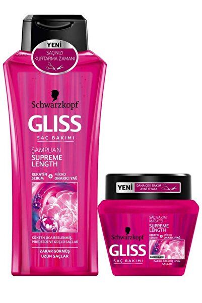 SCHWARZKOPF HAIR MASCARA Gliss Supreme Length Şampuan ve Maske 400 ml