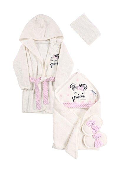 Miniworld Kız Bebek Fiyonklu Prenses Bornoz Takımı