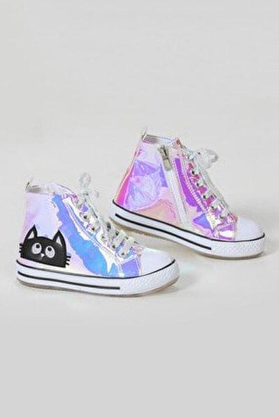 Kedi Pembe Hologramlı Kız Sneakers Ayakkabı
