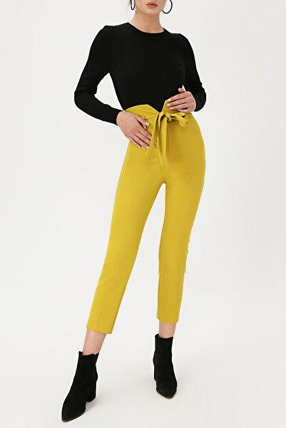 RANDOM Kadın Hardal Yüksek Bel Beli Kemerli Pantolon