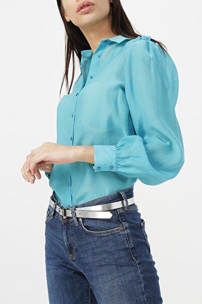 RANDOM Kadın Turkuaz Omuzları Fırfır Detaylı Gömlek