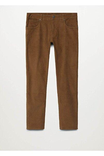 MANGO Man Erkek Kahverengi  Dar Kesimli Fitilli Kadife Pantolon