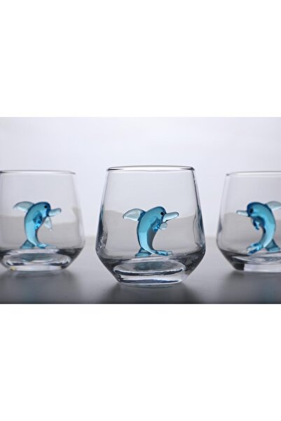 mosaicturk Yunus Figürlü 6'lı Kahve Yanı Su Bardağı Seti (turkuaz)