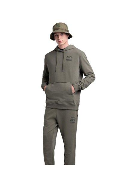 Herschel Supply Co. Unisex Yeşil Minimal Yazılı Sweatshirt