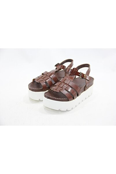 İnci Kadın Kahverengi Hakiki Deri Sandalet Ayakkabı