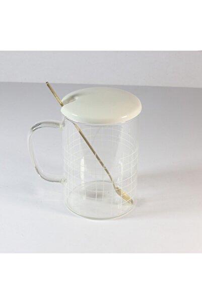 Cooker Beyaz Kapaklı Cam Bardak 400 ml
