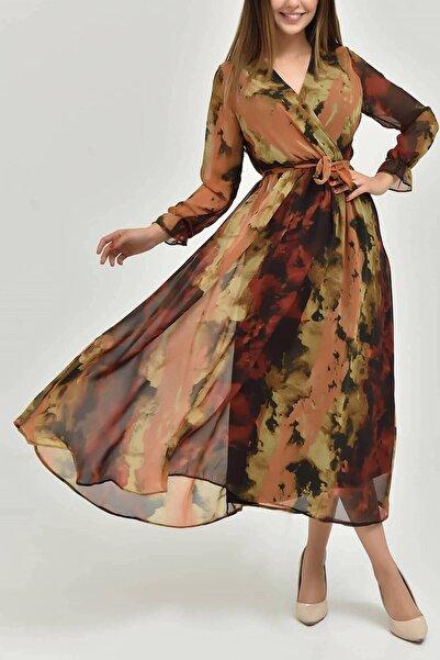 Elbise Delisi Kadın Desenli Şifon Elbise
