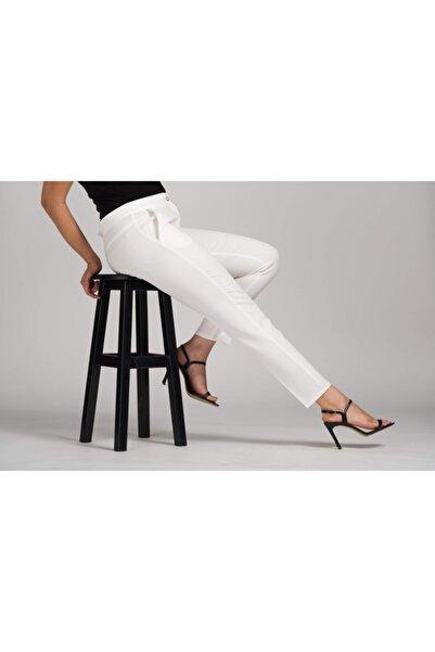 MODAMAİSA Kadın Beyaz Dar Bilek Pantolon