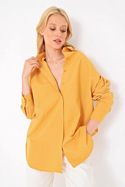 Trend Alaçatı Stili Kadın Hardal Gizli Patlı Oversıze Poplın Dokuma Gömlek ALC-X4748