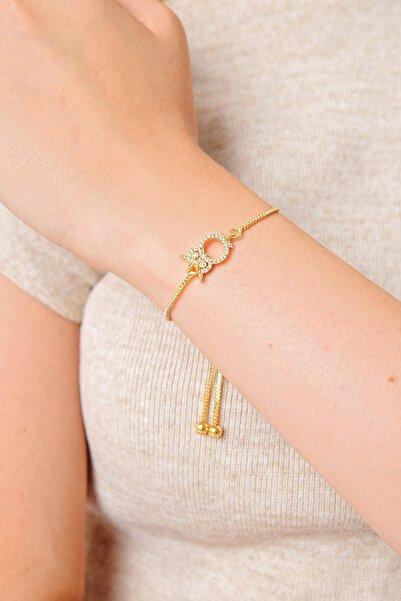 Trend Alaçatı Stili Kadın Gold Baykuş Taşlı Asansörlü Bileklik ALC-A2017