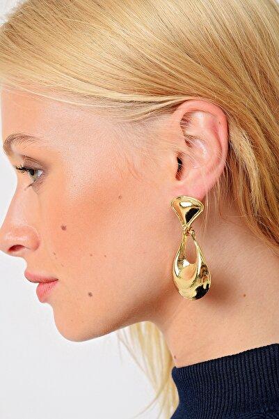 Trend Alaçatı Stili Kadın Gold Damla Küpe ALC-A2022