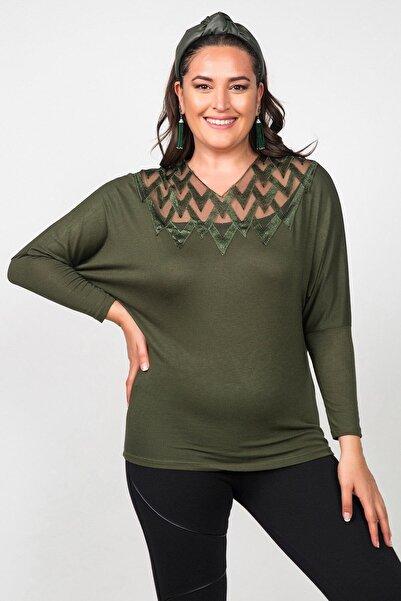 Womenice Kadın Haki Önü Tül Zigzag Desenli Büyük Beden Bluz