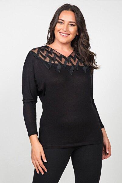Womenice Kadın Siyah Önü Tül Zigzag Desenli Büyük Beden Bluz