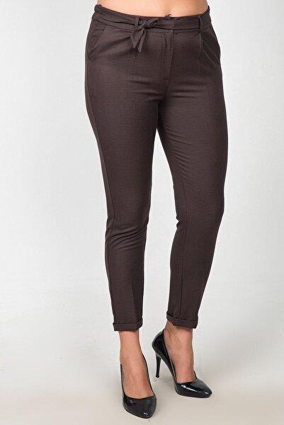 Womenice Kadın Kahverengi Yüksek Bel Kumaş Kemerli Büyük Beden Pantolon