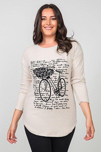 Womenice Kadın Ekru Pamuklu Bisiklet Flok Baskılı Büyük Beden Bluz