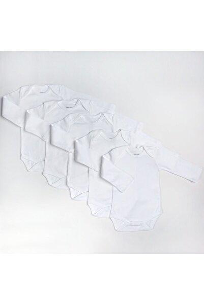 HelloBaby loBaby Bebek Basic Ribana Zarf Yaka 5li Uzun Kol Body - Beyaz