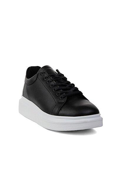 CONTEYNER Erkek Siyah Cilt Sportif Ayakkabı