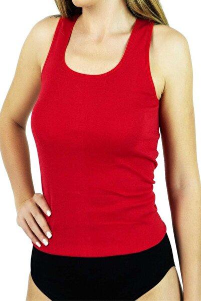 Tutku Kadın Kırmızı Ribana Geniş Askı Atlet