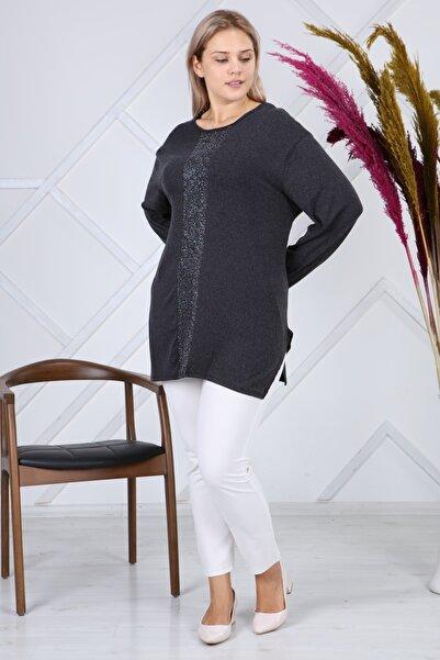 LİKRA Kadın Antrasit Büyük Beden Lame Şerit Detay Verev Kesim Lı Yünlü Viskon Bluz