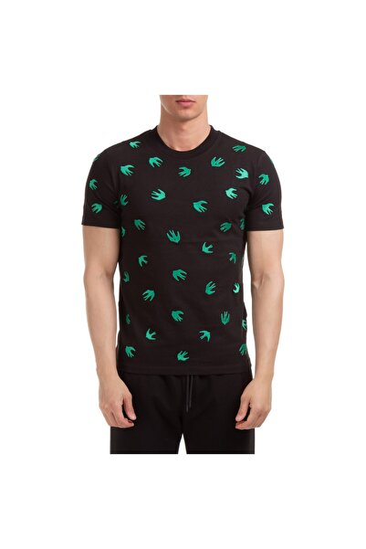 ALEXANDER MCQUEEN Mcq Kırlangıç Nakışlı Allover Siyah T-shirt