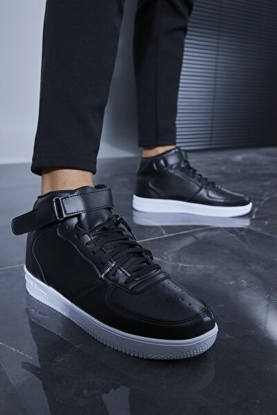 Sateen Men Erkek Siyah-Beyaz Sneakers Spor Bot