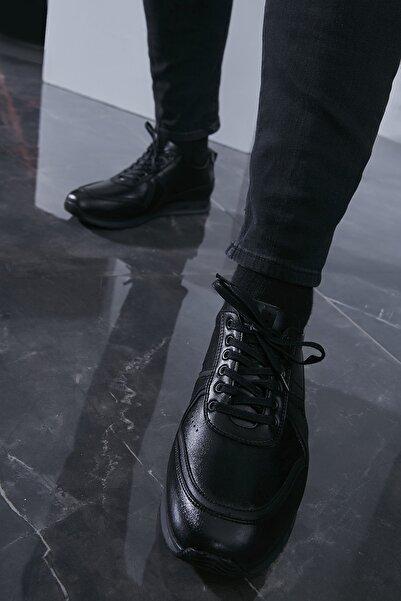 Sateen Men Erkek Siyah Deri Ayakkabı