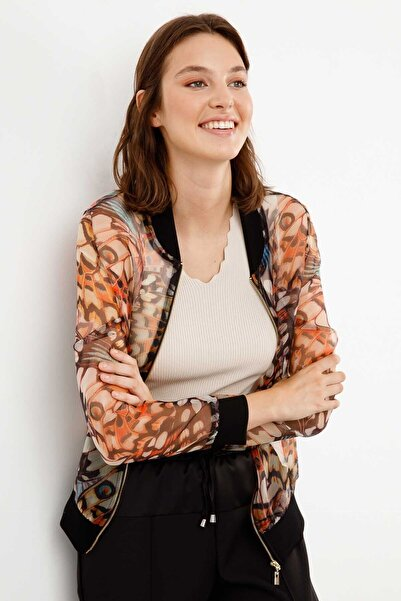 Ekol Kadın Desenli Organze Bomber Ceket