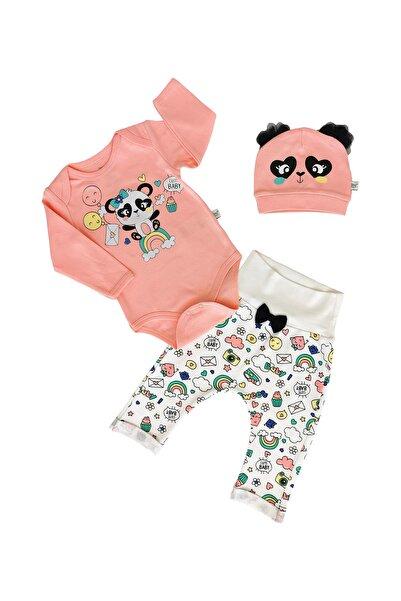 İmaj Kız Bebek Gökkuşağı Panda Bodyli  3'lü Takım Şeftali