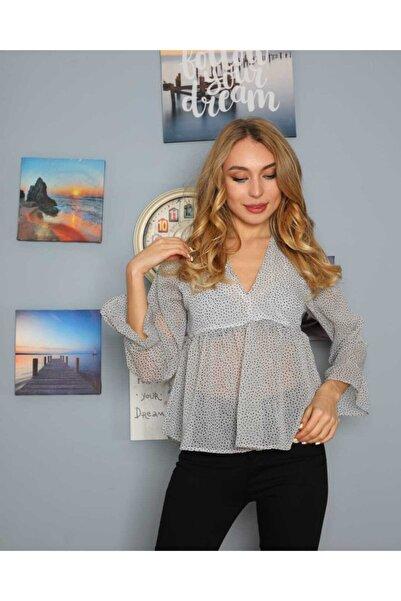 NİCE Kadın Gri V Yaka Şifon Bluz